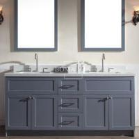 Buy cheap Unique 4-Door 3-Drawer Wood Bathroom Vanity vessel sinks Set Dark Grey 72 inch with Mirror from wholesalers