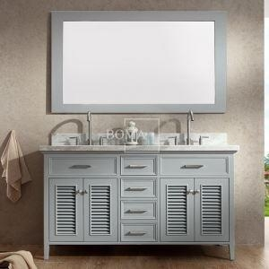 China 60 inch French Bathroom Vanity Set with Mirror Double Sink Light Grey