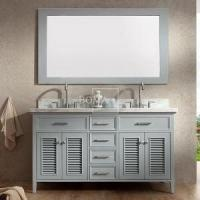 Buy cheap 60 inch French Bathroom Vanity Set with Mirror Double Sink Light Grey from wholesalers