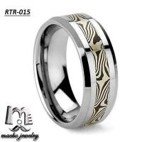 Damascus Steel inlay tungsten ring tungsten wedding rings RTR-015 Manufactures