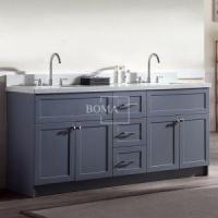 Buy cheap 72 Dark Grey Solid Wood Large Double Sink Bathroom Vanity with Top from wholesalers