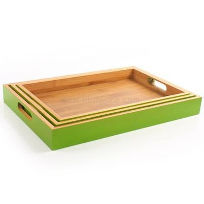 China Wooden Green Serving Dinner Trays Lap Tray