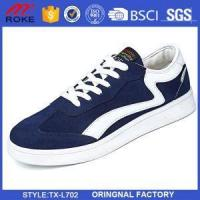 Buy cheap Casual lace-up shoe with Vans' classic Off-The-Wall sole Canvas and leather upper from wholesalers