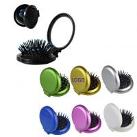 China Folding Hair Brush with Mirror Compact Pocket Size on sale