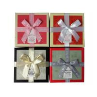 Quality Textured Square Gift Boxes with Ribbon Bow Manufactures