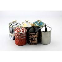 China Ceramic candle jar High ceramic candle holder with beautiful printing on sale
