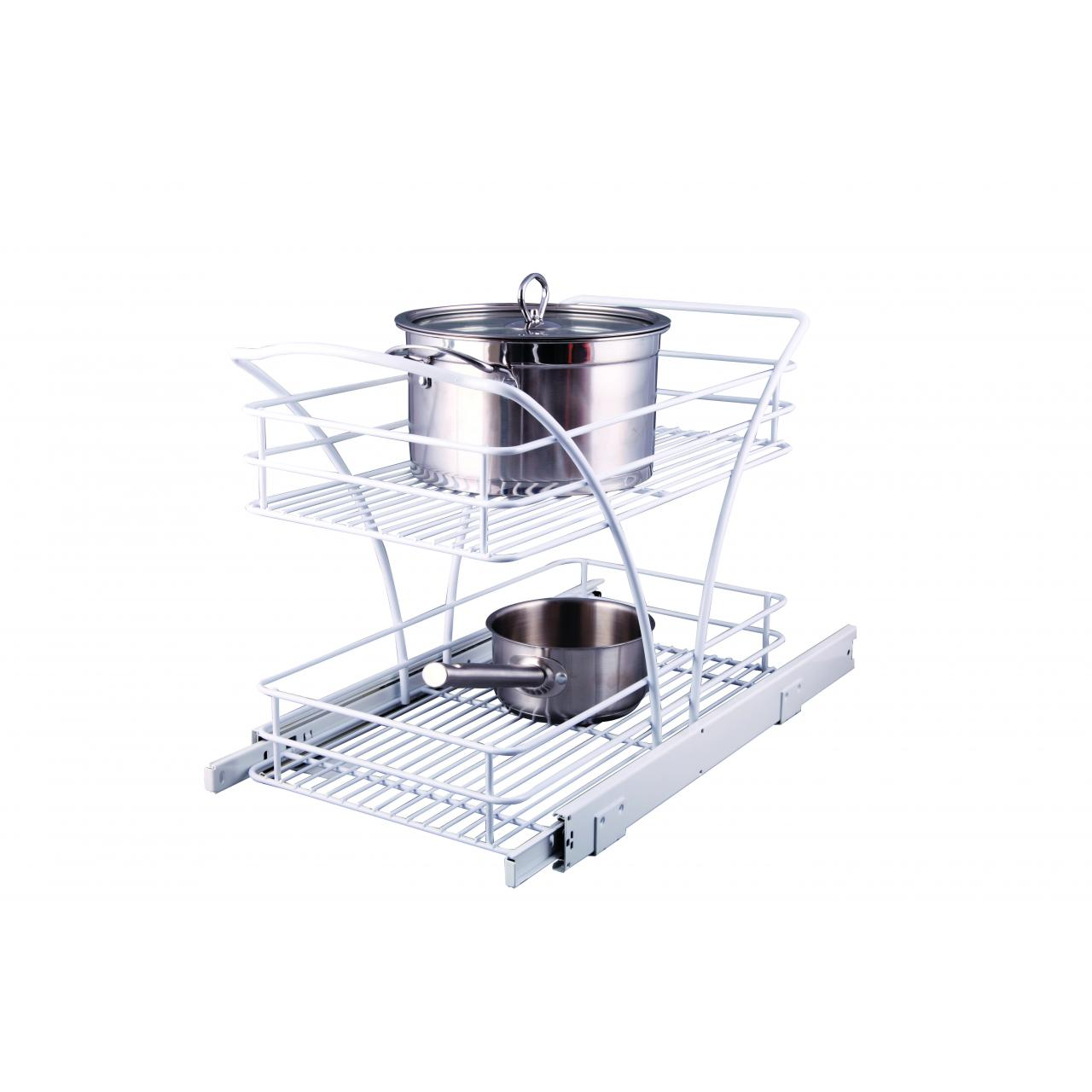 China Kitchen Racks Pull out 2 Tier Drawer Basket KT-2051W on sale