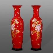 China Chinese Red Porcelain Floor Vase on sale