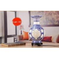 China Hollow Carved Blue and White Chinese Porcelain Vase Lamp on sale