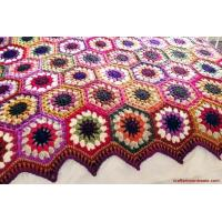 China Autumn colours crochet hexagon blanket  Ta-Dah! on sale