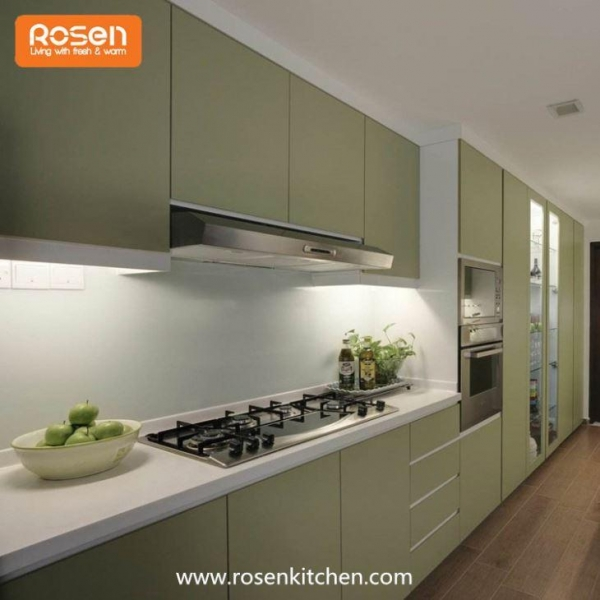 Best Paint For Melamine Kitchen Cupboards: Modern Green Color Best Spray Hand Painted Flat Pack