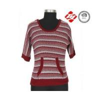 Mid sleeve stripe and hole ladies sweater with pocket Manufactures