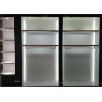 Matte White Wooden Retail Clothing Fixtures Apparel Store Shelves With LED Lights