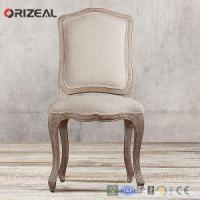 Orizeal Antique French Camelback Fabric Side Chair with Natural Solid Wood Legs Manufactures
