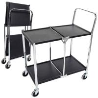 China Model MSCC-2 Two-Shelf Collapsible Steel Metal Utility Cart on sale