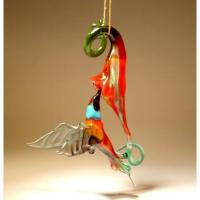 Glass Hanging Hummingbird and Red Flower Ornament Manufactures