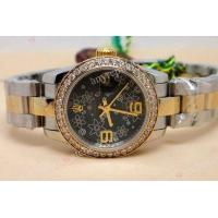 China Fake Rolex Datejust Two Tone Black Flower 26mm Ladies Watch on sale