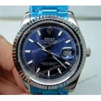 China Fake Rolex Datejust SS Oyster Blue Dial 36mm Mens Design Watch on sale
