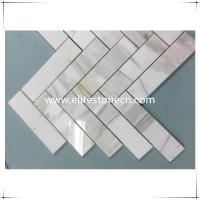 ES-G10 Herringbone Calacatta Gold Marble Stone Mosaic For Wall Panels Tile Manufactures