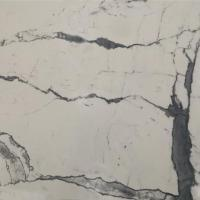 Snow White 3D Paiting Design Calacatta Vein Engineered Marble Slab for Wall Manufactures