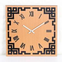 China Clock Creative Round Shape Chinese Style Digital Wood Wall Quiet Clock on sale