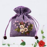 High quality flower embroidery fabric gift pouch with drawstring Manufactures