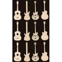Buy cheap 12 guitar ornaments 3 inches tall natural craft wood cutouts from wholesalers