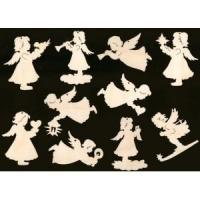 Buy cheap 10 piece angel assortment christmas ornament 4 inches on longest side natural wood cutout from wholesalers