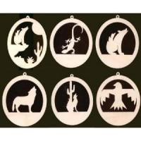 Buy cheap 6 southwest ornaments 4 inches tall natural craft wood cutouts from wholesalers