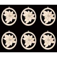 Buy cheap 6 poinsettia flower ornament 4 inches tall natural craft wood cutout from wholesalers