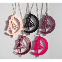 Buy cheap Pretty Sailor Moon silhouette necklace in hot pastel glitter mirror pink black from wholesalers
