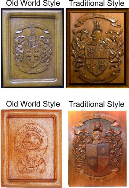 Quality Coat of Arms Wood Carvings or Custom Carved Wood Plaques for sale