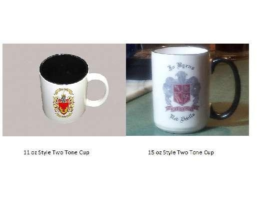 Quality Two Tone Coffee Cups with Coat of Arms and Family Crest for sale