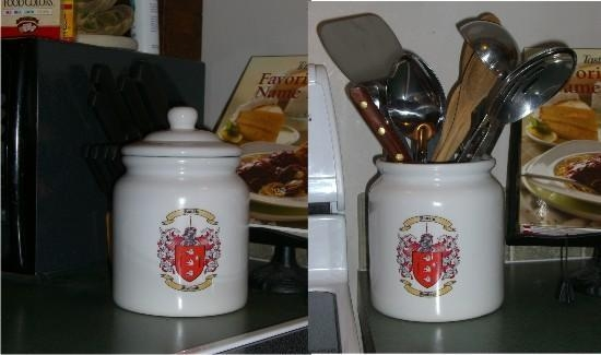 Quality Cookie Jar / Canister with Family Crest / Coat of Arms for sale