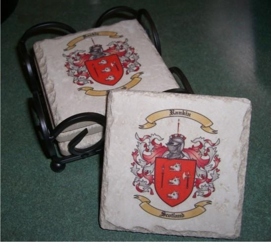 Quality Stone Drink Coasters with Coat of Arms Print for sale