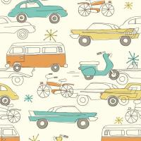 China Birch Fabrics - Organic Cotton - Circa 52 - Cars Cream - Poplin by the Yard wholesale