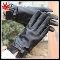 Ladies leather gloves size 9 with company logo custom design Manufactures