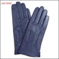 China ladies new style high fashion wearing navy blue leather gloves on sale