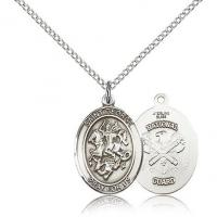 China Design Your Own Sterling Silver 3/4in St George National Guard Medal & 18in Chain on sale