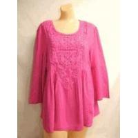 Simply Noelle shirt Orchid pink top 3/4 Bell Sleeve Top w/Crochet size small medium Manufactures
