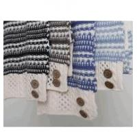 Simply Noelle Nordic stripe scarf with buttons winter brown, blue, black Manufactures
