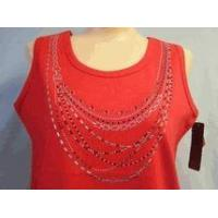 Christine Alexander red tank top shirt silver & red crystal necklace S to L Manufactures
