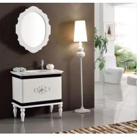 Europe Waterproof White Lacquer Solid Wood Washroom Vanity Sets Mirror Storage Cabinet Manufactures