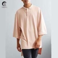 oversized fit plain blank polyester polo shirts with droptail hem Manufactures
