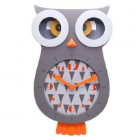 Owl Shape Fun Plastic Pendulum Wall Clock Manufactures