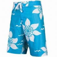 China Boardshorts for Men with Full Flower Printing, Tie at Front Waist, Made of 100% Polyester wholesale