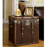 China Full Brazil Leather Antique Color Cover with Drawers Leather Lamp Table on sale