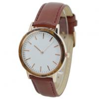 Best New Men's Wood Grain Wooden Watches Cheap with Leather Strap Manufactures