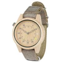 Changeable Canvas Strap Custom Bamboo Wood Mens Watches Manufactures