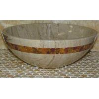 Sahara Beige Marble Kitchen Bathroom Sinks With Multi Red Onyx Mosaic Inlay Manufactures